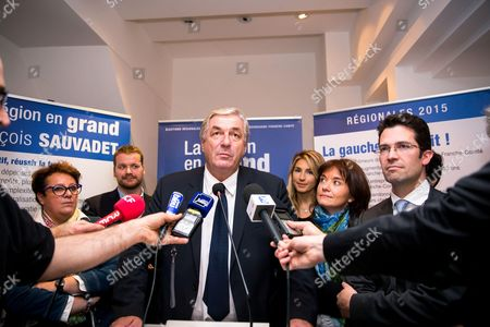 Stock Photo of Francois Sauvadet (Top candidate of right-wing Les Repubicains) at his Campaign headquarters during the results of the second round of the French regional election 2015 in the Bourgogne France conte region