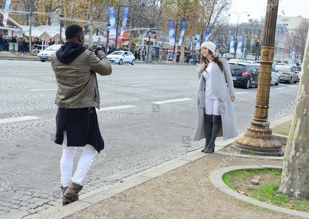 Editorial picture of Bakary Sagna and Ludivine Kadri out and about, Paris, France - 13 Dec 2015