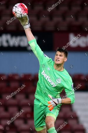 West Ham goalkeeper, Raphael Spiegel during West Ham United U21 vs Arsenal U21 at the Boleyn Ground