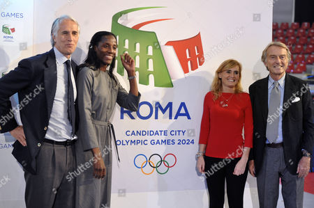 Italian National Olympic Committee President Giovanni Malagò, Fiona May, Diana Bianchedi and President of the organizing committee for Olimpic Games Luca Cordero Di Montezemolo near the Logo