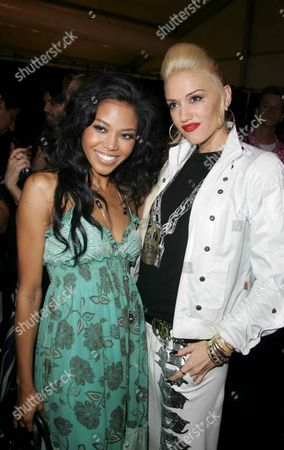 Amerie and Gwen Stefani at the Fashion For Relief Fashion Show