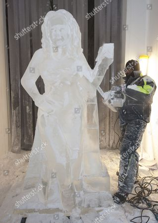 Editorial photo of Jill Foster Has A Lifesize Ice Sculpture Of Herself By Asanga Amerasinghe At The Ice Company. Picture Murray Sanders Daily Mail.
