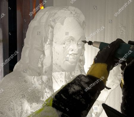 Jill Foster Has A Lifesize Ice Sculpture Of Herself By Asanga Amerasinghe At The Ice Company.