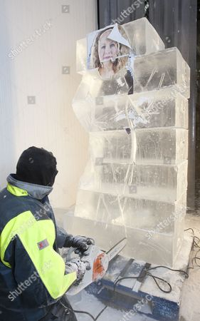Editorial image of Jill Foster Has A Lifesize Ice Sculpture Of Herself By Asanga Amerasinghe At The Ice Company. Picture Murray Sanders Daily Mail.