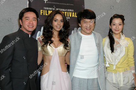 Stanley Tong, Mallika Sherawat, Jackie Chan and Heeseon Kim after 'The Myth' film press conference
