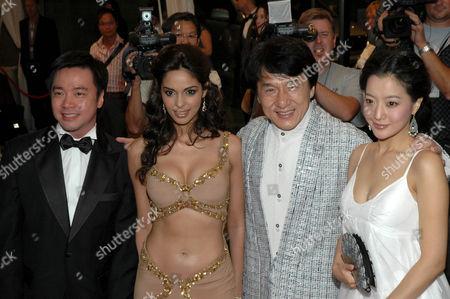 Stanley Tong, Mallika Sherawat, Jackie Chan and Heeseon Kim at 'The Myth' film premiere