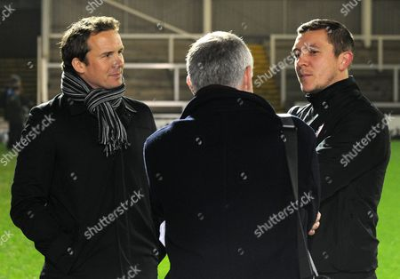Stock Picture of Co-Manager Anthony Johnson of Salford City with pundit Kevin Davies before the Emirates FA Cup Second Round replay match between Hartlepool United and Salford City played at the Victoria Park Stadium, Hartlepool on the 15th of December 2015