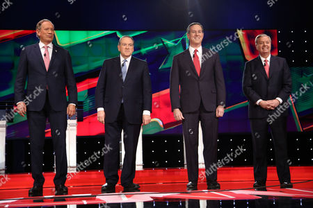 Stock Picture of George Pataki, Mike Huckabee, Rick Santorum and Lindsey Graham