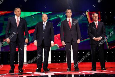 Stock Image of George Pataki, Mike Huckabee, Rick Santorum and Lindsey Graham
