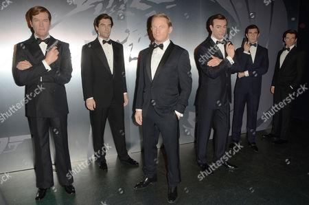 James Bond wax figures - Sir Roger Moore, Timothy Dalton, Daniel Craig, Sean Connery, George Lazenby and Pierce Brosnan