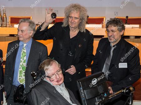 Stock Image of Richard Dawkins, Brian May, Professor Garik Israelian and Professor Stephen Hawking