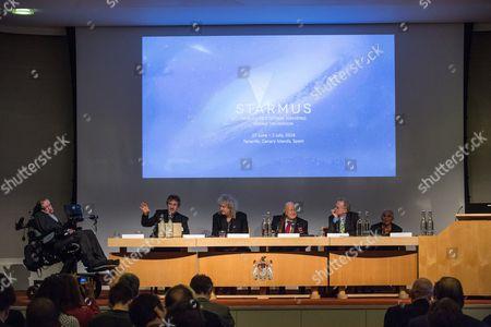 Professor Stephen Hawking, Professor Garik Israelian, Brian May, Alexei Leonov, Dr Richard Dawkins and Sir Harold Kroto