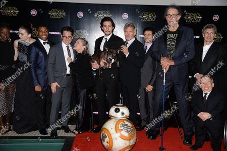 J.J. Abrams, Warwick Davis, Peter Mayhew, Oscar Isaac, Adam Driver, John Boyega, Carrie Fisher, Daisy Ridley and BB-8