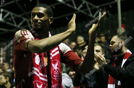 Danny Mills of Whitehawk applauds the fans after the FA Cup Second Round Replay match between Whitehawk and Dagenham & Redbridge played at The Enclosed Ground, Brighton on 15th December 2015
