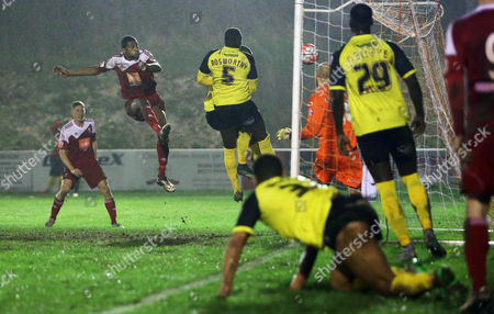 Danny Mills of Whitehawk scores the opening goal during the FA Cup Second Round Replay match between Whitehawk and Dagenham & Redbridge played at The Enclosed Ground, Brighton on 15th December 2015