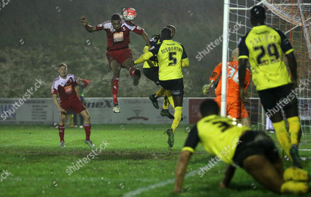 Danny Mills of Whitehawk celebrates scoring the opening goal during the FA Cup Second Round Replay match between Whitehawk and Dagenham & Redbridge played at The Enclosed Ground, Brighton on 15th December 2015