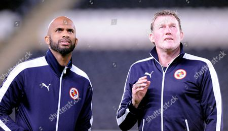Goalkeeping Coach Dave Beasant talks with Goalkeeper Ali Al-Habsi of Reading before the Sky Bet Championship match between Hull City and Reading, played at the KC Stadium, Hull, on the 16th of December 2015