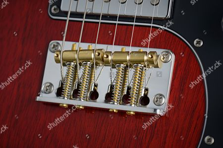 Detail Of The Plate-style Bridge On A Prs S2 Vela Electric Guitar