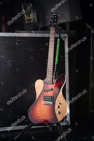 Bristol United Kingdom - March 29: A Framus Idolmaker Electric Guitar Belonging To Canadian Hard Rock Musician Devin Townsend Photographed Before A Live Performance At The O2 Academy In Bristol On March 29