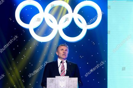 The President of the National Olympic Committee of Ukraine, Member of the IOC Executive Board, the Olympic champion Sergey Bubka delivers a speech during the celebrations