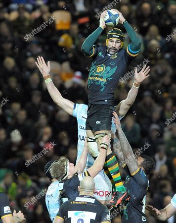 Northampton's Victor Matfield secures clean line out ball - Rugby Union - European Champions Cup - Northampton Saints v Racing 92 - 18/12/15 - Round 4 - At Franklin's Gardens, Northampton UK