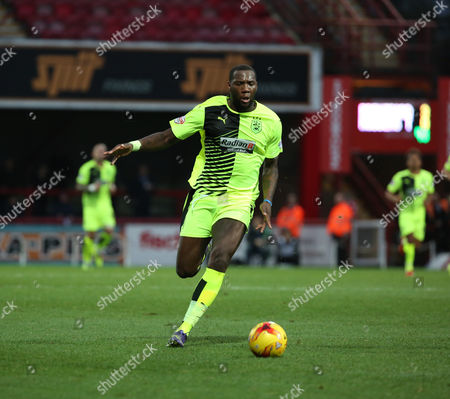 Stock Picture of Hudderfield Town striker Ishmael Miller trying to start an attack during the Sky Bet Championship match between Brentford and Huddersfield Town at Griffin Park, London