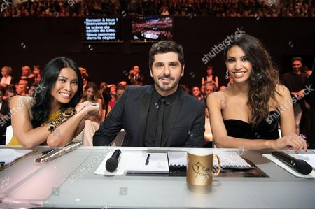 Anggun, Patrick Fiori and Miss France 2009 Chloe Mortaud