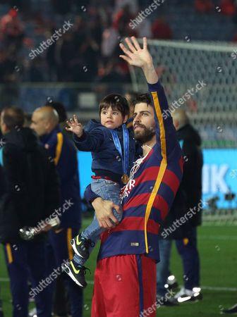 Gerard Pique and his son Milan Pique Mebarak
