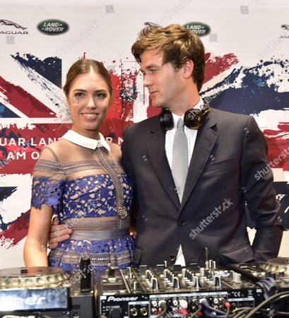 Amber Le Bon and Isaac Ferry DJing at the opening of the Jaguar Land Rover Boutique
