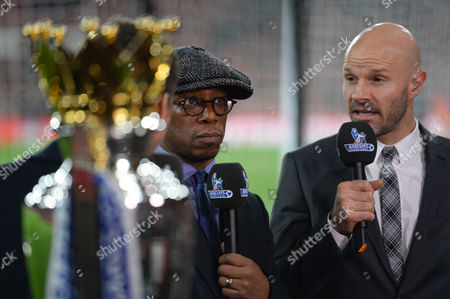 Ian Wright and Danny Mills during the Barclays Premier League match between Arsenal and Manchester City played at The Emirates Stadium, London on December 21st 2015