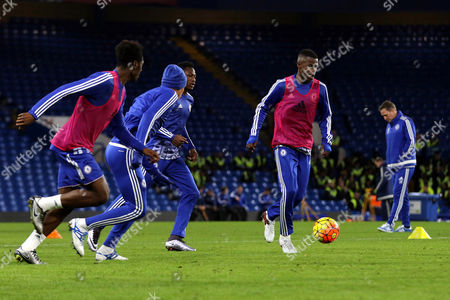 Ramires of Chelsea takes part in a training session on the Chelsea pitch after the final whistle during Chelsea vs Watford at Stamford Bridge
