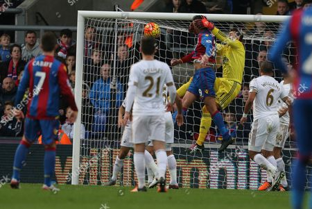 Lukasz Fabianski of Swansea City appears to catch Marouane Chamakh of Crystal Palaces head rather than the ball during Crystal Palace vs Swansea City at Selhurst Park