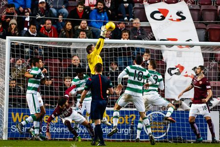 Hearts FC Goalkeeper Neil Alexander makes a vital catch during the Ladbrokes Scottish Premiership match between Heart of Midlothian and Celtic at Tynecastle Stadium, Gorgie