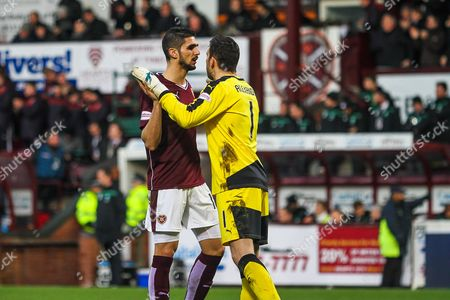 Hearts FC Defender Igor Rossi Branco and Hearts FC Goalkeeper Neil Alexander celebrate the first goal during the Ladbrokes Scottish Premiership match between Heart of Midlothian and Celtic at Tynecastle Stadium, Gorgie