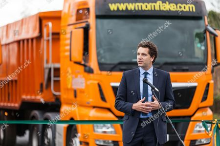 Edward Timpson MP speaking prior to the opening of the new Basford West Spine Road. It  is named Jack Mills Way after the late local train driver who was attacked during the Great Train Robbery.