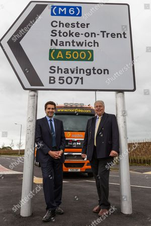 Edward Timpson MP (L) and John Lea, the owner of Mornflake, one of Crewe's oldest companies, on the new Basford West Spine Road. It is to be named Jack Mills Way after the late local train driver who was attacked during the Great Train Robbery in 1963.