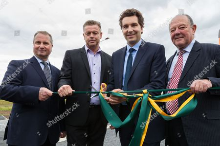 (L-R) Ian Pritchard of Goodman, Ian Mills, Edward Timpson MP and Councillor David Brown open the new Basford West Spine Road, Crewe. It is to be named Jack Mills Way after the late local train driver and grandfather of Mr Mills, who was attacked during the Great Train Robbery in 1963.