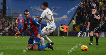Marouane Chamakh squeesing the ball out wide during the Barclays Premier League match between Crystal Palace and Swansea City at Selhurst Park, London