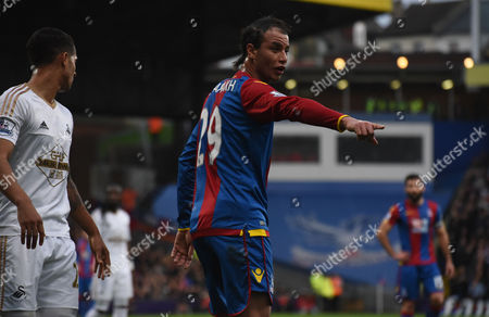 Marouane Chamakh gives his orders during the Barclays Premier League match between Crystal Palace and Swansea City at Selhurst Park, London