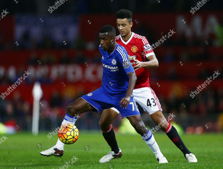 Ramires of Chelsea and Cameron Borthwick-Jackson of Manchester United during the Barclays Premier League match between Manchester United and Chelsea played at Old Trafford, Manchester on December 28th 2015