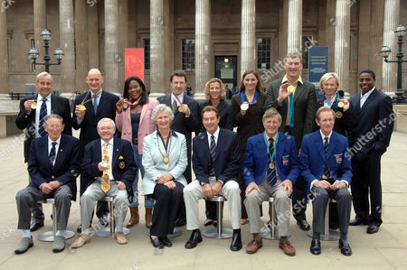 (L-R) Front row Bertie Thomas Bushnell, Terence Spinks, Anita Lonsbrough, Lynn Davies, Rodney Paterson, Richard Meade, (L-R) Top Row Reginald White, Duncan Goodhew, Theresa Sanderson. Sean Kerly, Sakky Gunnell, Sarah Bailey, Matthew Pinset, Shirley Robertson, Harry Aryeetey