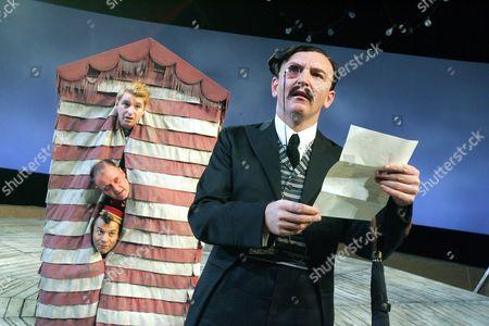 'Twelfth Night' at the West Yorkshire Playhouse - John Lightbody (Sir Andrew), Colin Mace (Sir Toby), Guy Burgess (Fabian), Antony Byrne (Malvolio)