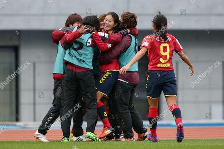 Homare Sawa of Leonessa celebrates with teammates