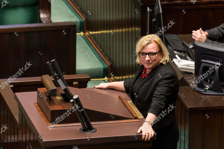 Minister Beata Kempa during an all-night session