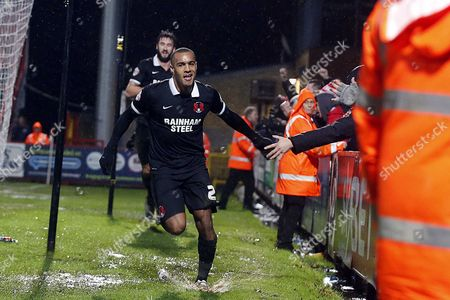 Orient's Jay Simpson celebrates after scoring a last minute equalising goal