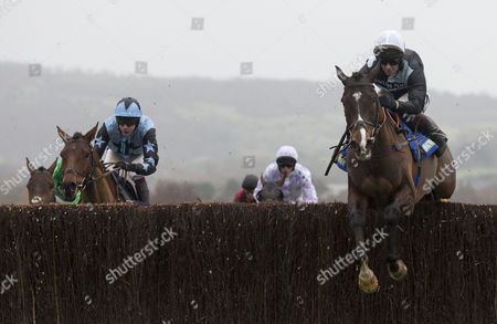 Village Vic ridden by Richard Johnson leads the field home to win the 13.55; The Handicap Steeple Chase Race run at Cheltenham Racecourse.