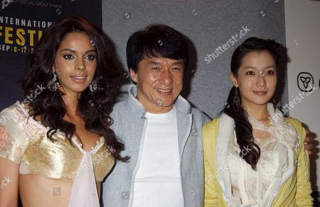 Mallika Sherawat Jackie Chanat and Kim Hee Seon at 'The Myth' Press Conference