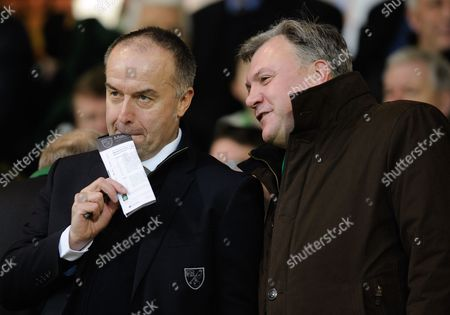 Norwich City Chief Executive David McNally and Non-Executive Chairman Ed Balls during the Barclays Premier League match between Norwich City and Southampton played at Carrow Road, Norwich on the 2nd of January 2016