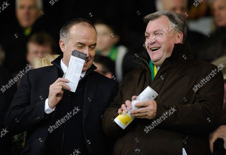 Stock Photo of Norwich City Chief Executive David McNally and Non-Executive Chairman Ed Balls during the Barclays Premier League match between Norwich City and Southampton played at Carrow Road, Norwich on the 2nd of January 2016