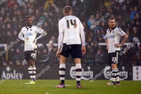 Moussa Dembele and Jamie O?Hara of Fulham look dejected during the Sky Bet Championship match between Fulham and Sheffield Wednesday played at Craven Cottage, London on January 2nd 2016